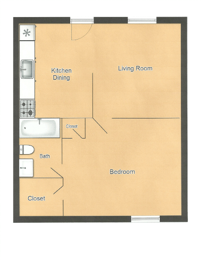 Hidden Oak Apartments Floor Plan 1515 First Ave, Jackson, MS 39203